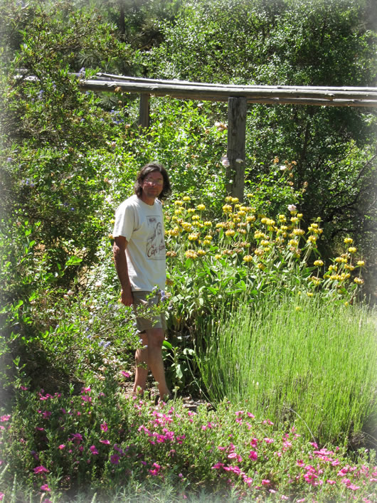 Jonathan Frei in his garden.