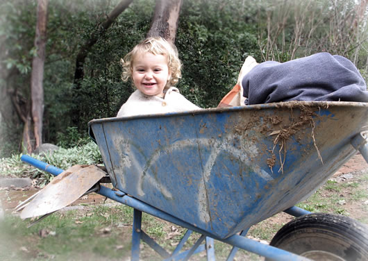 Baby Osiris in garden wheelbarrow.