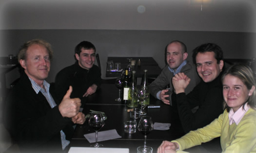 Paul meeting wine scientists in France.