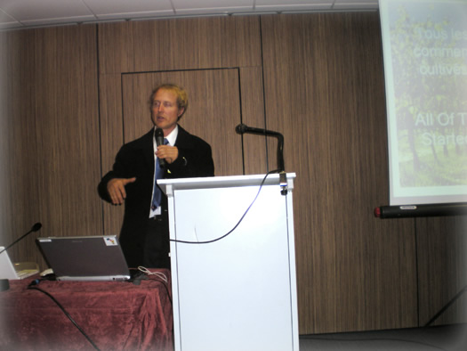 Paul Frey, Organic Winemaker, giving talk at Millesime Bio 2010, France.