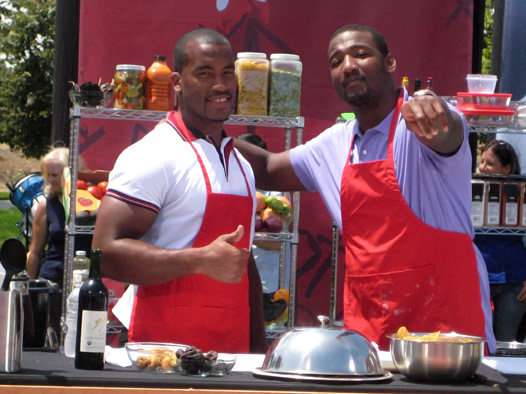 NFL stars cooking with Frey Organic Wine