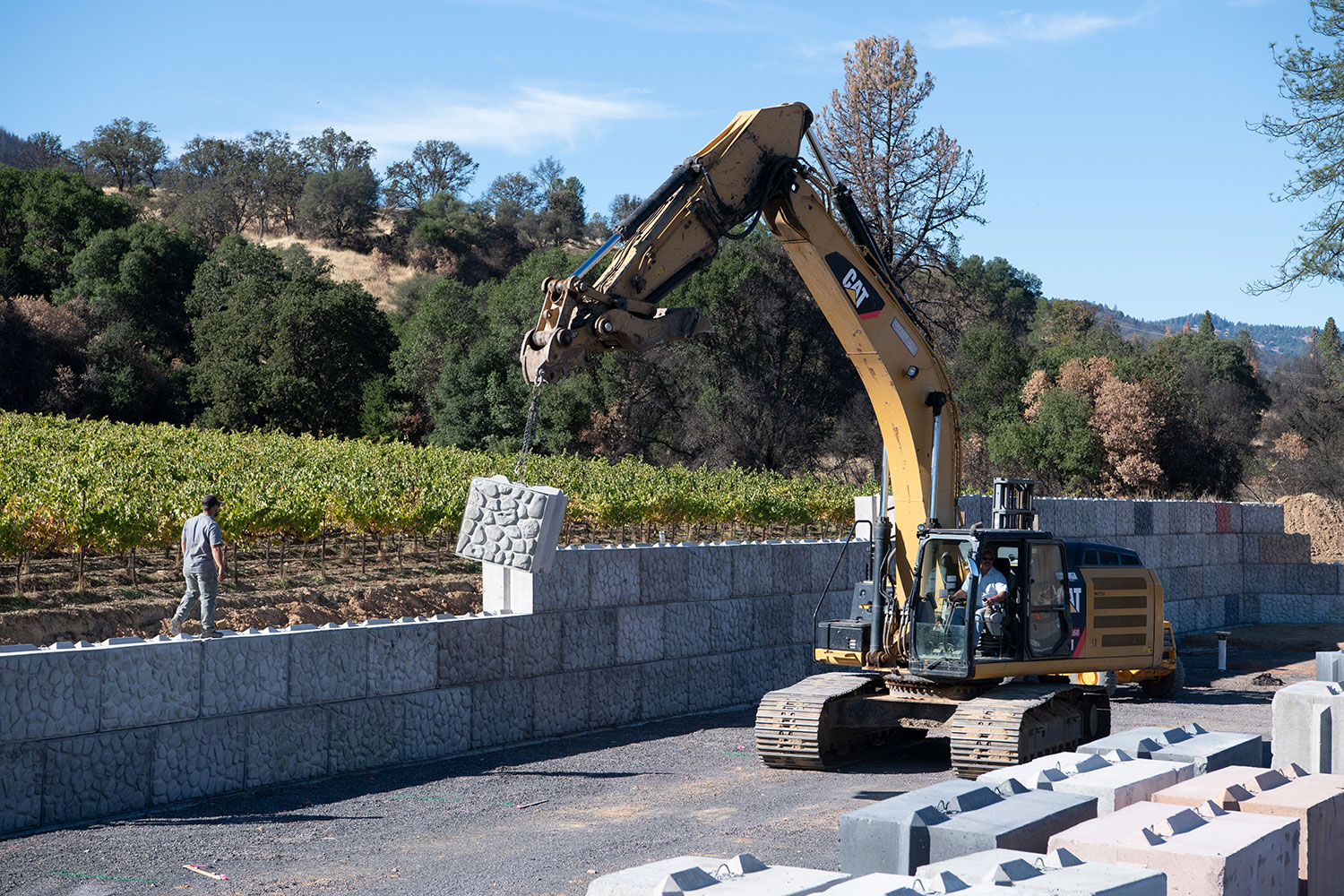 Building the retaining wall at new Frey organic winery.