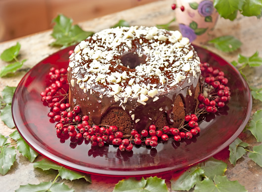 Holiday fruit cake slathered in chocolate