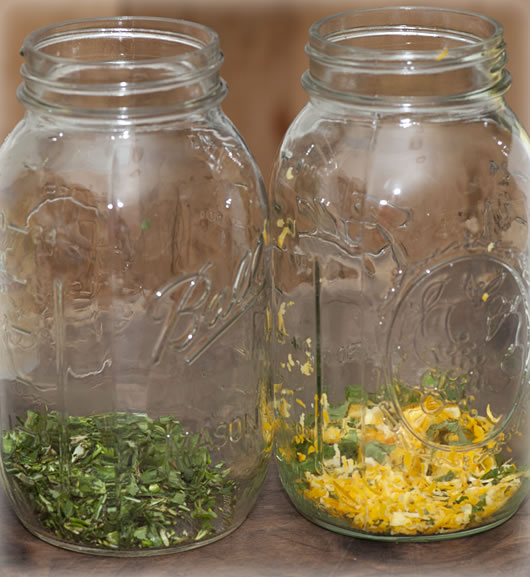 Herbs chopped up and in the jar