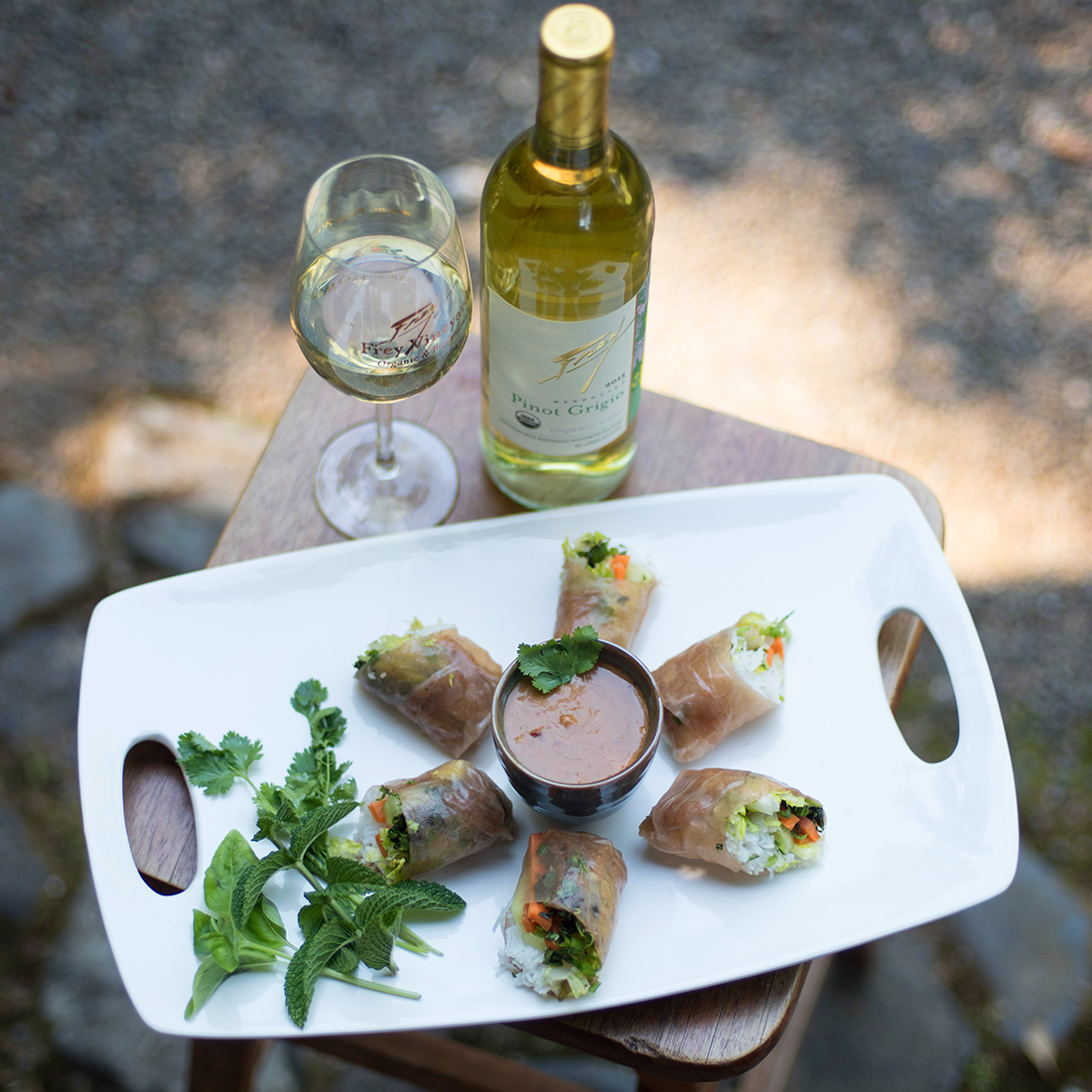 Vegetable Spring Rolls with Frey Organic Pinot Grigio