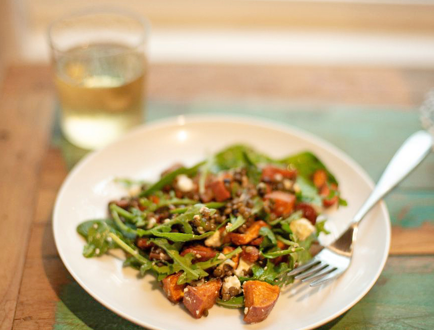 French lentil salad with Frey Organic Chardonnay