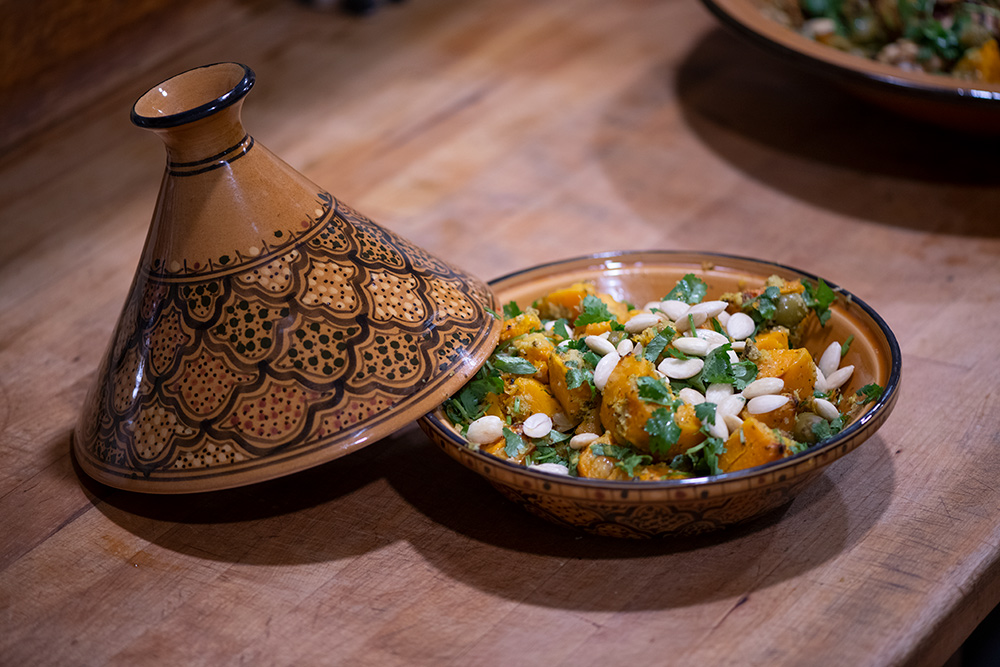 Vegetarian tagine dish ready to eat